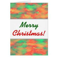 Green Red Watercolor-Like Abstract Pattern Card - merry christmas diy xmas present gift idea family holidays