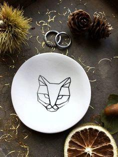 Cat Porcelain Trinket Dish Black White Geometric Design Kitty