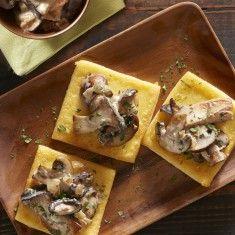 Fried Polenta Squares with Creamy Mushroom Ragu