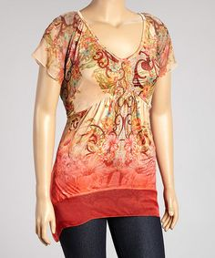 Another great find on #zulily! Coral Abstract Sidetail Top - Plus #zulilyfinds