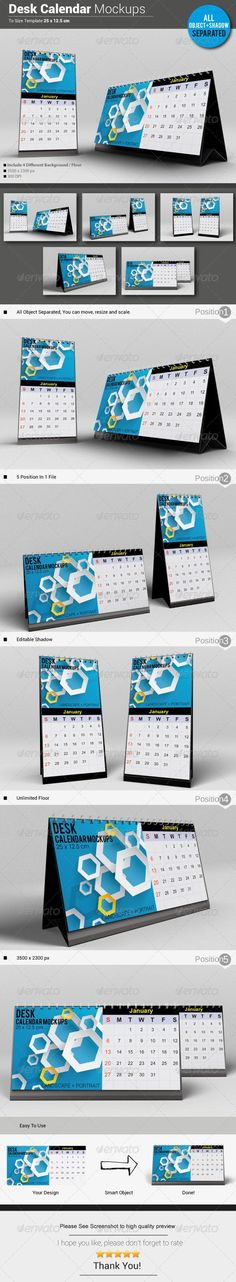 Desk Calendar Mockups — Photoshop PSD #new years #mockup • Available here → https://graphicriver.net/item/desk-calendar-mockups/5740942?ref=pxcr