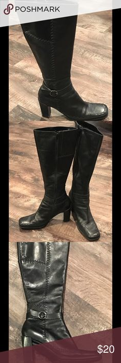 Via Spiga boots Black boots with a squared toe. 3 inch heel. Small scuff on the right heel. Via Spiga Shoes Heeled Boots