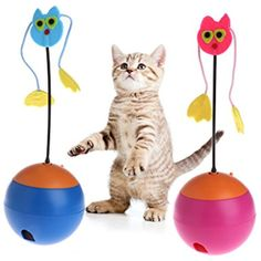 Yumian Pet Electric Tumbler Toys, Interactive Cat Dog Toy, Roly-Poly with Food Dispenser Feeder Funny Ball For Dog Cat Puppy (Blue) >>> Check out this great product. (This is an affiliate link) #Cats