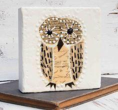 OWL Original Encaustic Mixed Media Painting by susannajarian