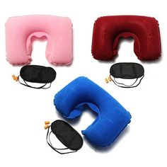 Wallmart.win Inflatable Travel Sleeping Set U Air Cushion Pillow Earplug Eye Mask: Vendor: BG-US-Health-and-Beauty Type: Personal Care…