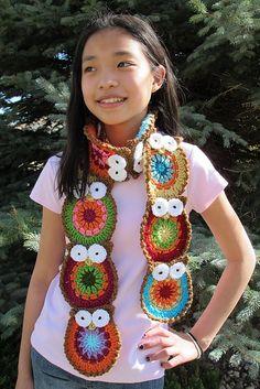 Owl scarf crochet pattern.  For Livi?
