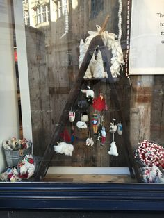 Christmas window close up #visualmerchandising #display #windows #westelm #handcrafted