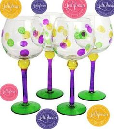Jelly Bean Mardi Gras Wine Glasses
