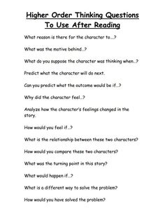 example of critical thinking questions
