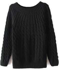 Black Long Sleeve Loose Cable Knit Sweater