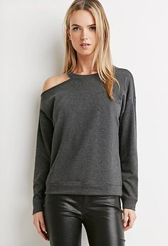 Contemporary Distressed French Terry Sweatshirt | LOVE21 - 2000174508