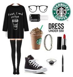 """tired? drink coffee"" by b-e-l-l-a-r-y-a-n ❤ liked on Polyvore featuring Tamara Mellon, Converse, Linda Farrow, Essie, Kat Von D and Dressunder50"