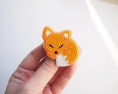 Items similar to Orange Red Blue Fox Brooch Pin, Fox Jewelry, Kids christmas gift, Animal Jewelry on Etsy Fox Jewelry, Bead Jewellery, Animal Jewelry, Beaded Jewelry, Bead Embroidery Jewelry, Beaded Embroidery, Hand Embroidery, Beading Patterns, Embroidery Patterns