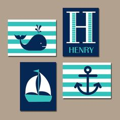 Hamptons WHALE Nursery Wall Art Canvas or Print Sailboat Anchor Baby Boy Nursery Wall Art Nautical Nursery Boys Bedroom Set of 4 Crib Decor
