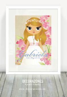 Decorazones.es _Lámina de Primera comunión para la rubia de Gabriela #comuniones #RecordatoriosdeComunion #primeracomunion