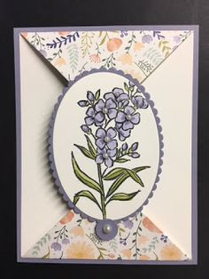 My Creative Corner!: Lots of Lavender, Spring Card, 2018 Occasions Catalog, Card Technique Fancy Fold Cards, Folded Cards, Card Making Tutorials, Making Ideas, Thank You Note Cards, Get Well Cards, Mothers Day Cards, Card Sketches, Creative Cards