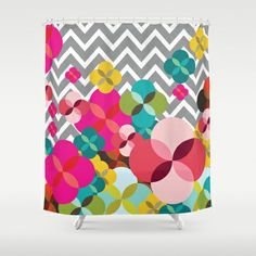 Chevron Blooms Shower Curtain by Michelle Nilson - $68.00 *free shipping today & $5 off
