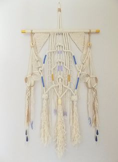 Beautiful Color Natural color rope and string with blue lavender and gold accents Dowel