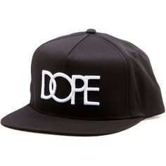 The DOPE Logo Snapback Hat in Black ($34) ❤ liked on Polyvore featuring accessories, hats, polyester hat, snapback hats, logo hats, six panel hat and dope hats