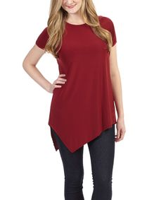 Love this Burgundy Asymmetrical-Hem Tunic by Lark & Marwood on #zulily! #zulilyfinds