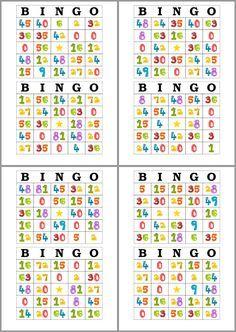 Tarjetas de Bingo para Imprimir y estudiar las tablas de multiplicar                                                                                                                                                                                 Más