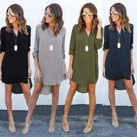 Wish   Summer Autumn Women Casual Long Sleeve Chiffon Dresses Ladies Fashion V Neck T Shirt Loose Short Dress Tops