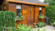 Wood-stained shed with window boxes   Gallery of best garden sheds