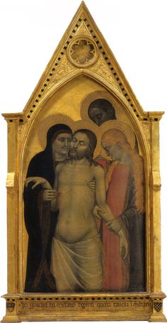 """'Pieta' by Giovanni da Milano; 1365; Tempera on Panel; 48x22""""; Creates an emotional bond between the sacred figures  the individual worshipper (rather than rely on narrative events as artists had previously done). This demonstrates that Christ shared in the suffering of all humanity. He is held here in the arms of Mary his mother, Mary Magdalene, and John after his death. Giovanni's wonderful use of texture of the anatomical surface prepares the way for the Renaissance."""