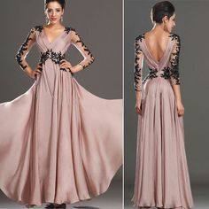 Sexy Lace Chiffon Maxi Dresses Backless A-Line Evening Gowns Party Dress Long Formal Dresses