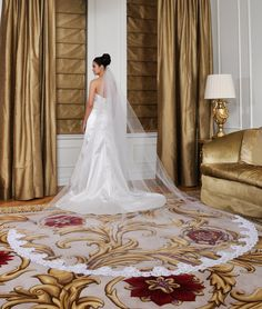 NEW - Wedding Veil - Cathedral Length with Wide French Alencon Lace At Bottom Edge. $240.00, via Etsy.