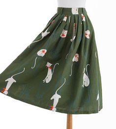 Vintage 1950s Cat Skirt // Cute Kitty Novelty Print Pleated
