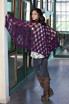 Doris Chan has created a fabulous openwork shawl crocheted an a yummy shade of Sheep(ish), our new Stitch. Rock. Love yarn. from Vickie Howell. Designed in a easy to wrap winged shape, the Bohemian Shawl is worked with a beautiful lace stitch for optimum drape and glamour.