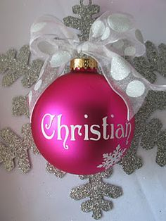 Christmas ornament personalized with name. great for ppl with kids, put kid name on ornament or newly weds