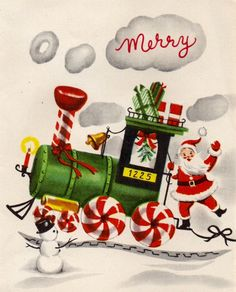 Santa falls off the train. Vintage Christmas Card. Retro Santa.
