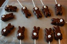 bunny peeps covered in chocolate with a marshmallow tail