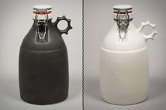 hand slip-cast stoneware growlers feature ceramic flip-tops with a rubber seal,