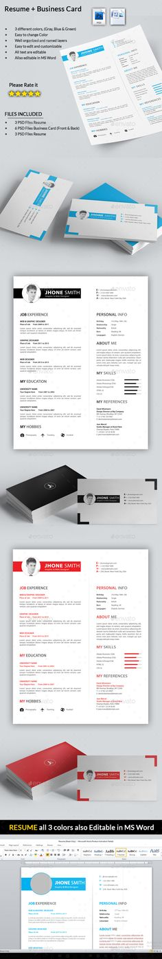 3 Page Business Resume with 3 Color Combinations Business resume - resume business cards