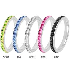 Round-cut colored cubic zirconia eternity band Stainless steel jewelry Click here for ring sizing guide