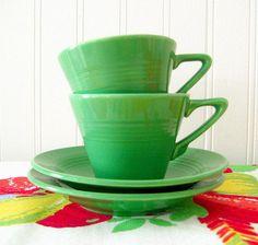 Harlequin Medium Green Cup Saucer x2 Homer Laughlin Vintage Fiesta