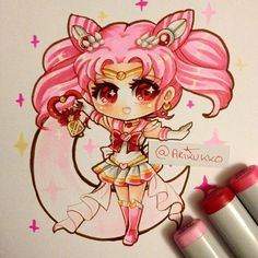 Twinkle yell~~ chibi fanart of Super Sailor Chibi Moon from Sailor Moon~ =D…