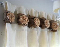 Burlap wide ruched tabs curtain- tea dyed rosette- off white burlap