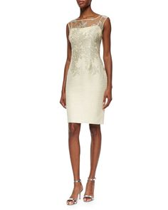 Kay Unger New York Sleeveless Lace Tweed Dress, Yellow