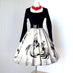 vintage 1950's style dress amazing designer BONNIE by traven7