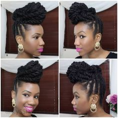 Braids Up in into a twisted Pompadour