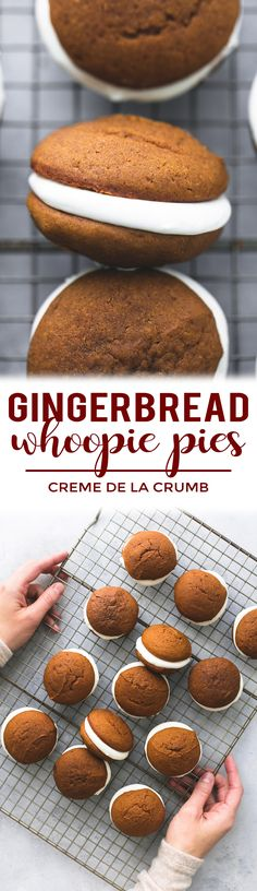 The most incredibly light, airy, and moist gingerbread whoopie pies filled with fluffy cream cheese filling! These cookies are a must-make for the holidays.  | lecremedelacrumb.com