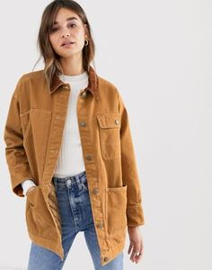 Buy Monki denim jacket with quilted lining and cord collar in rust at ASOS. With free delivery and return options (Ts&Cs apply), online shopping has never been so easy. Get the latest trends with ASOS now. Winter Outfits, Casual Outfits, Cute Outfits, Fashion Outfits, Modest Outfits, Skirt Outfits, Modest Fashion, Summer Outfits, Fashion Trends