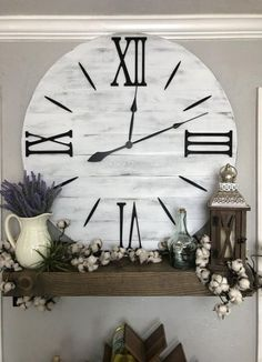 "Large Wall Clock ""The Bailey"" Roman Numeral Farmhouse Wall Clock Roman Numeral Oversized Wall Clock Handmade Wooden Clock Big Clock - Wall Decor Big Wall Clocks, Living Room Clocks, Living Room Decor, Clock Wall, Small Living Room Design, Living Room Designs, Farmhouse Wall Clocks, Rustic Wall Clocks, Mawa Design"