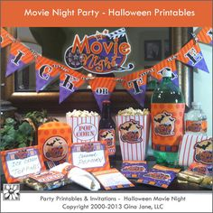 Party Printables - Halloween Movie Night - includes printables for popcorn boxes, water bottle labels, invitations, treat labels, and more.