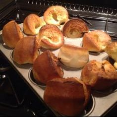 Award winning Yorkshire pudding- these were as good as they look!  You have to use a very hot pop over pan heated in oven prior to poring in the pudding for baking.  They won't be as airy and light otherwise.  So worth the pan purchase!  Love, love love!  Serve with gravy....:)