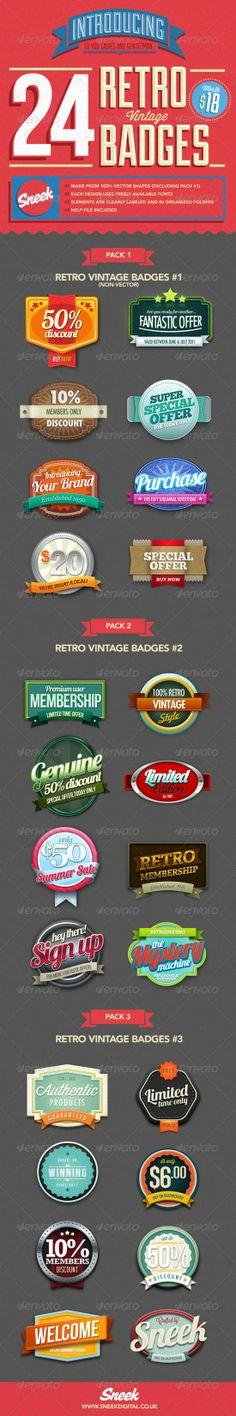 24 Retro Badges